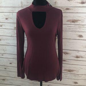 Burgundy keyhole long sleeve shirt